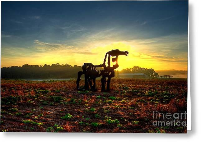 The Iron Horse Shadows Greeting Card by Reid Callaway