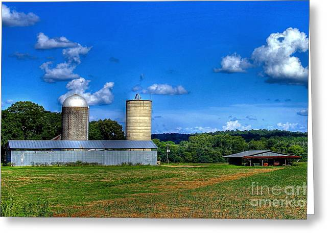 Cornfield Greeting Cards - The Iron Horse Silos Greeting Card by Reid Callaway