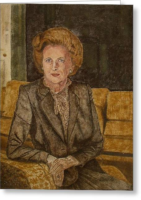Vintage Painter Mixed Media Greeting Cards - Portrait of The Iron Lady using Natural Coloured Sands and Magnetised Iron Filings Greeting Card by Environmental Sandpainter and Sand Artist Brian Pike