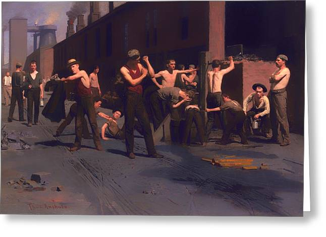 Bare Chested Greeting Cards - The Iron Workers Noontime  Greeting Card by Thomas Anshultz