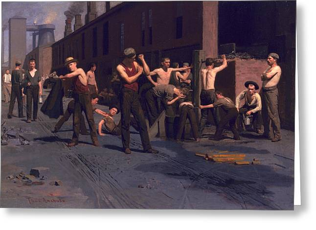 Ironworkers Greeting Cards - The Ironworkers Noontime Greeting Card by Thomas Pollock Anshutz