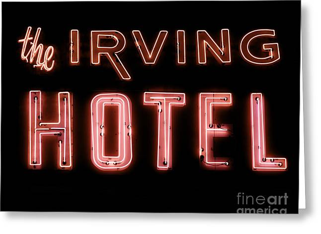Irving Greeting Cards - The Irving Hotel in Lights Greeting Card by Emily Enz