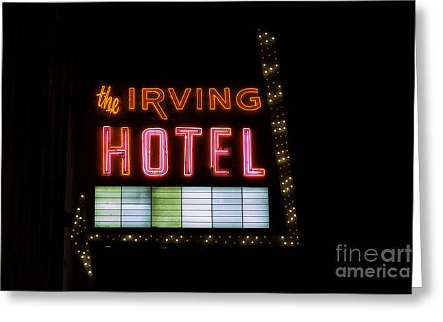 Irving Greeting Cards - The Irving Hotel Vintage Sign Greeting Card by Emily Kay