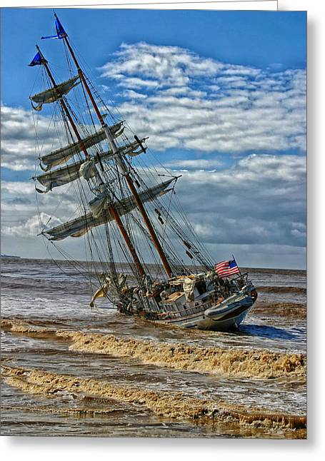 Mishap Greeting Cards - The Irving Johnson Aground  Greeting Card by Mountain Dreams