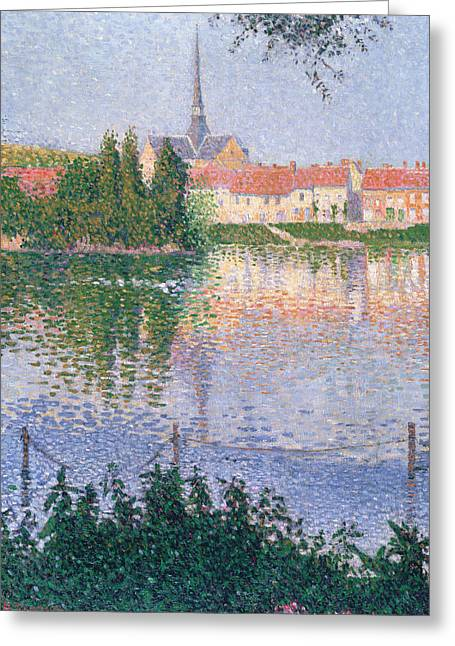 Pointillist Paintings Greeting Cards - The Island at Lucas near Les Andelys Greeting Card by Paul Signac