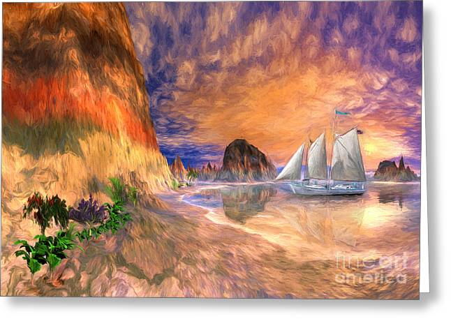 Sailing Ship Mixed Media Greeting Cards - The Island Of Hope  Greeting Card by Heinz G Mielke