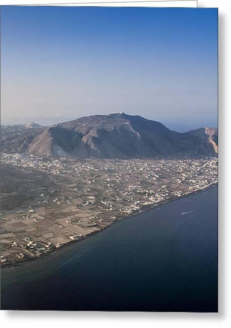 The Island Of Santorini Showing Moni Profiti Ilia-greece Greeting Card by Bill Collins