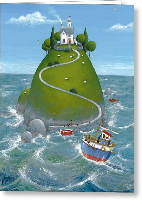 The Houses Greeting Cards - The Island Greeting Card by Peter Adderley