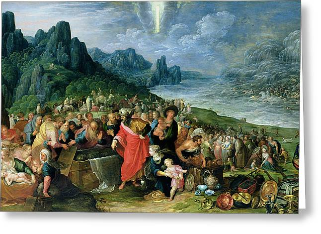 Intervention Greeting Cards - The Israelites On The Bank Of The Red Sea, 1621 Oil On Canvas Greeting Card by Frans II the Younger Francken