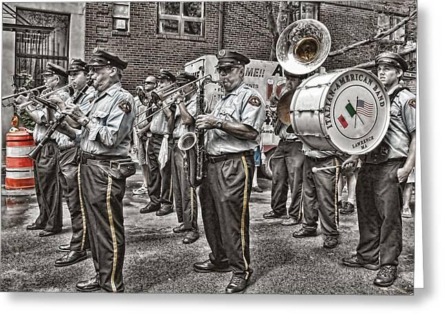 Italian-americans Greeting Cards - The Italian American Band - Boston North End Greeting Card by Joann Vitali