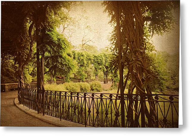 Conservatory Garden Greeting Cards - The Italian Garden Greeting Card by Jessica Jenney