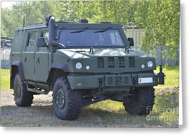 Belgian Army Greeting Cards - The Iveco Light Mulirole Vehicle Used Greeting Card by Luc De Jaeger