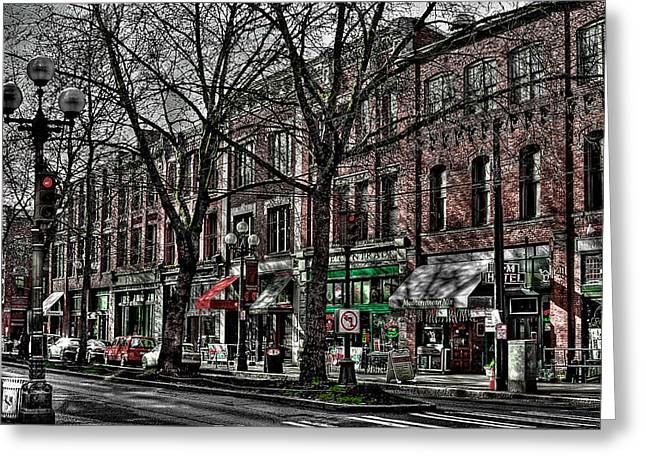 Pioneer Square Seattle Greeting Cards - The J and M Hotel in Pioneer Square - Seattle Washington Greeting Card by David Patterson