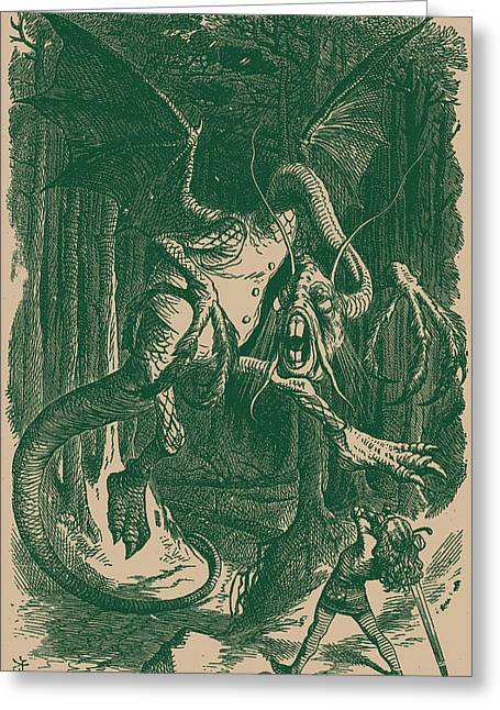 Through The Looking Glass Greeting Cards - The Jabberwock Greeting Card by