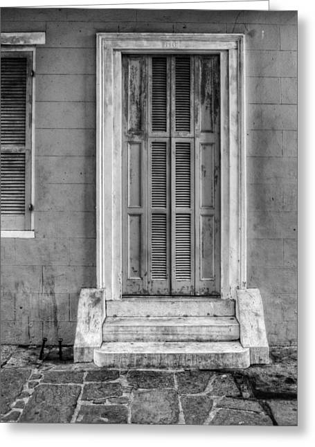 Pirates Greeting Cards - The Jackson House Door in Black and White Greeting Card by Chrystal Mimbs