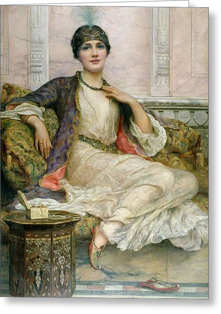 Hat Box Greeting Cards - The Jade Necklace, 1908 Greeting Card by William Clark Wontner