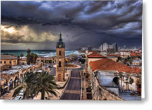 Best Sellers -  - Winter Storm Greeting Cards - the Jaffa old clock tower Greeting Card by Ronsho