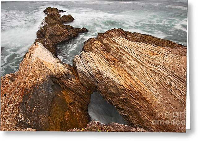 Montana De Oro Greeting Cards - The jagged rocks and cliffs of Montana de Oro State Park in Caliornia Greeting Card by Jamie Pham