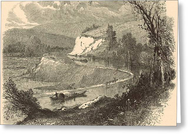 White River Scene Drawings Greeting Cards - The James above Richmond 1872 Engraving Greeting Card by Antique Engravings