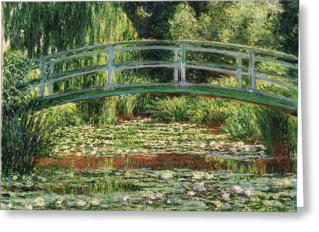 Bassin Greeting Cards - The Japanese Footbridge and the Water Lily Pool Giverny Greeting Card by Claude Monet