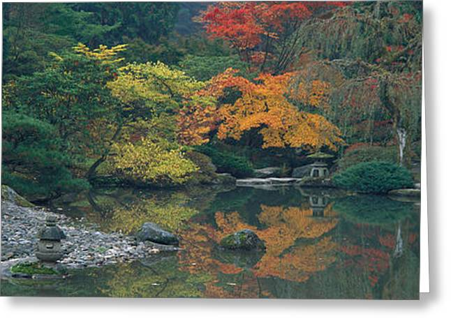 Wa Greeting Cards - The Japanese Garden Seattle Wa Usa Greeting Card by Panoramic Images