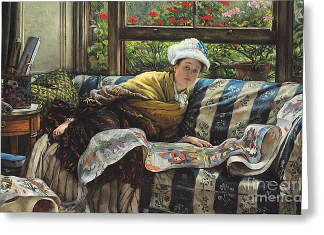Lounge Paintings Greeting Cards - The Japanese Scroll Greeting Card by Tissot