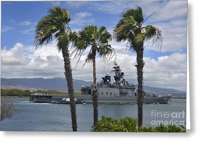 Hickam Greeting Cards - The Japanese Self Defense Force Ship Js Greeting Card by Stocktrek Images