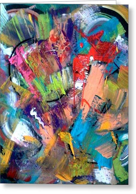 Modernism Pastels Greeting Cards - Macarena Jazz Abstract Painting Greeting Card by Kelly Turner