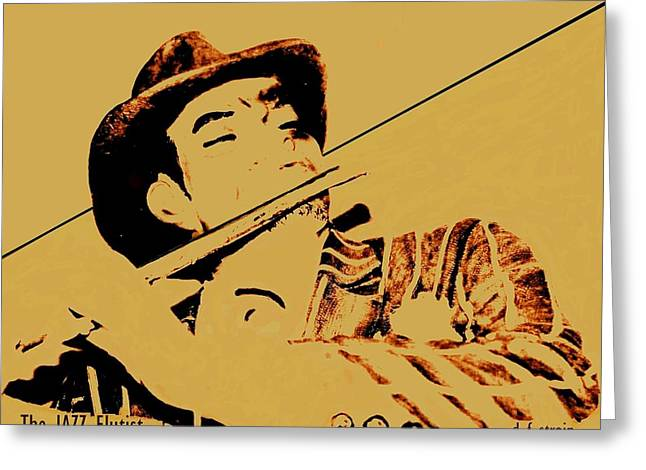 Fineartamerica Greeting Cards - The JAZZ Flutist Greeting Card by Diane Strain