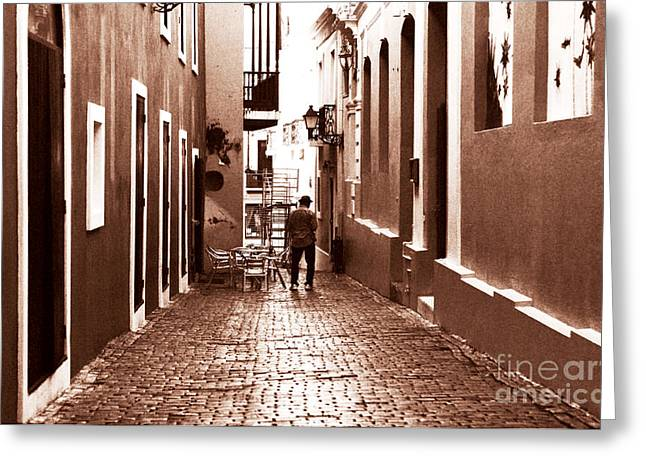 Old San Juan Greeting Cards - The Jazz Man Greeting Card by John Rizzuto