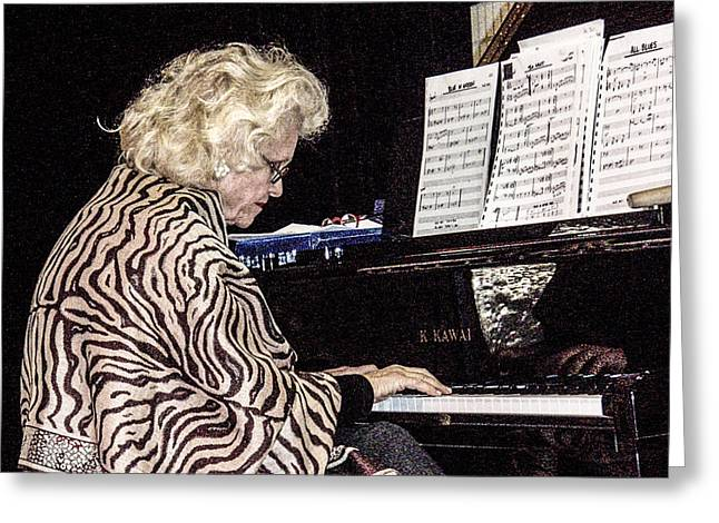 Improvisational Greeting Cards - The Jazz Pianist 2 Greeting Card by Rebecca Dru