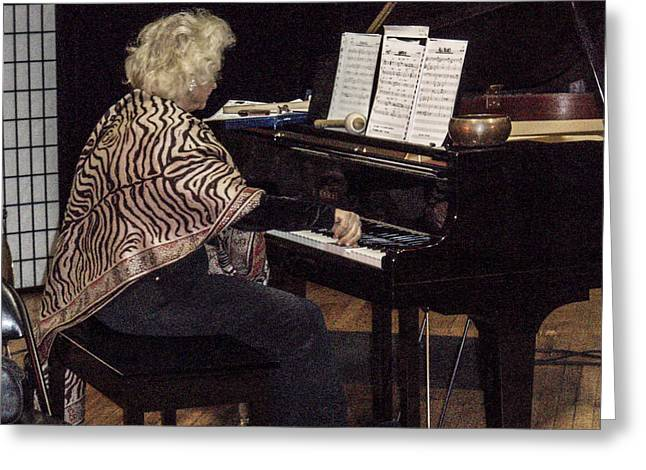 Improvisational Greeting Cards - The Jazz Pianist Greeting Card by Rebecca Dru