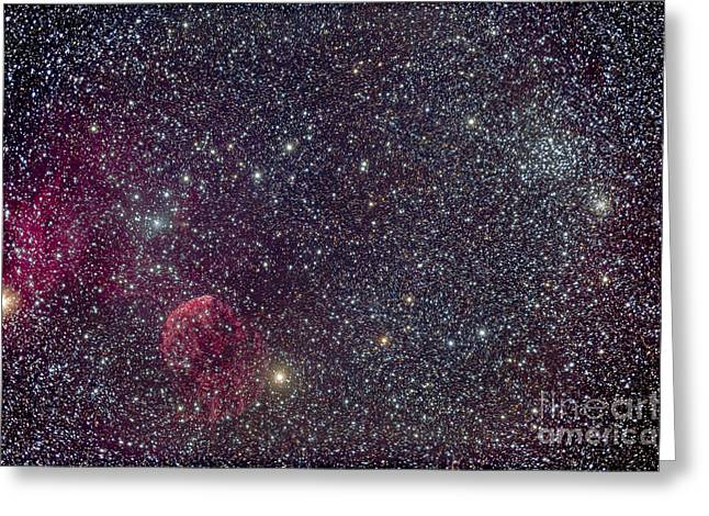 Interstellar Space Greeting Cards - The Jellyfish Nebula And Associated Greeting Card by Alan Dyer