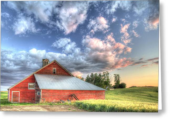 Grey Clouds Greeting Cards - The Jenkins Red Barn Greeting Card by Latah Trail Foundation