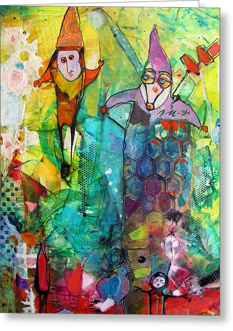 Jester Mixed Media Greeting Cards - The Jesters Greeting Card by Chris Cozen