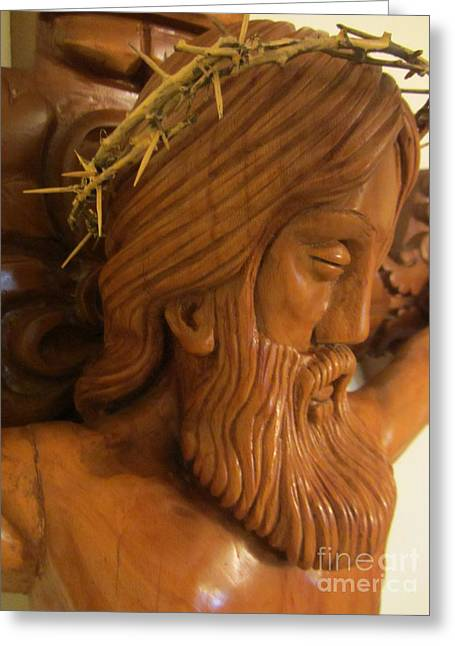 Jesus work Reliefs Greeting Cards - The Jesus Christ Sculpture Wood Work Wood Carving Poplar Wood Great For Church 2 Greeting Card by Persian Art
