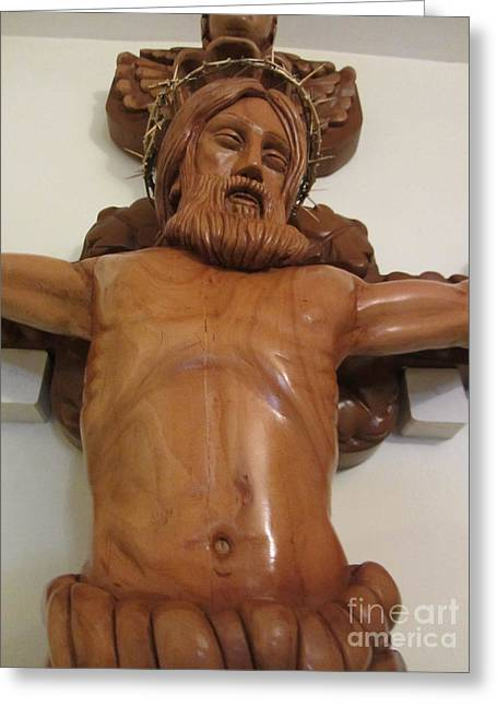 Jesus work Reliefs Greeting Cards - The Jesus Christ Sculpture Wood Work Wood Carving Poplar Wood Great For Church 4 Greeting Card by Persian Art