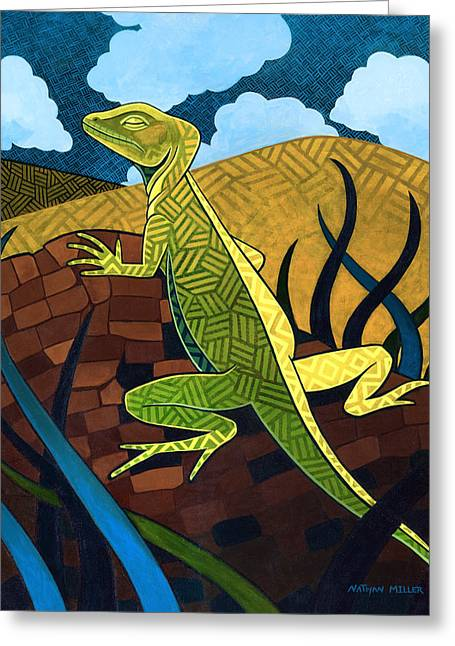 Nathan Miller Greeting Cards - The Jesus Lizard Greeting Card by Nathan Miller
