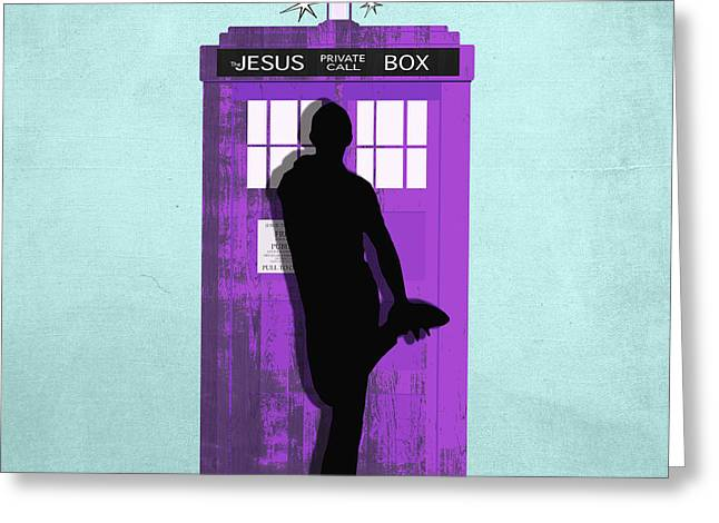 Interstellar Space Greeting Cards - The Jesus private call box Tardis Greeting Card by Filippo B