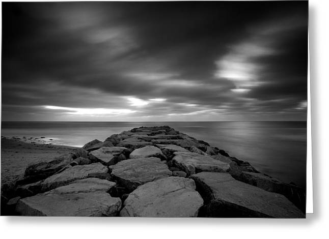 Locations Greeting Cards - The Jetty - Black and White Greeting Card by Peter Tellone