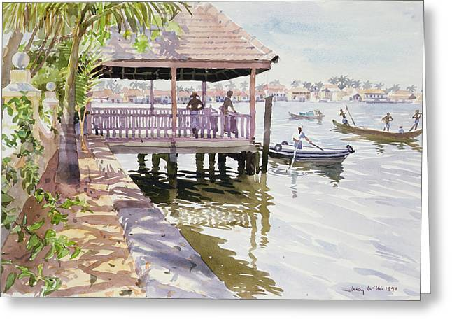 Locations Paintings Greeting Cards - The Jetty Cochin Greeting Card by Lucy Willis