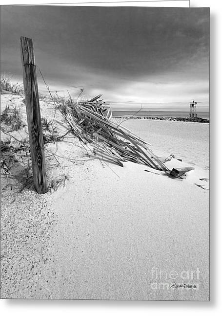 Storm Clouds Cape Cod Greeting Cards - The Jetty Greeting Card by Michelle Wiarda