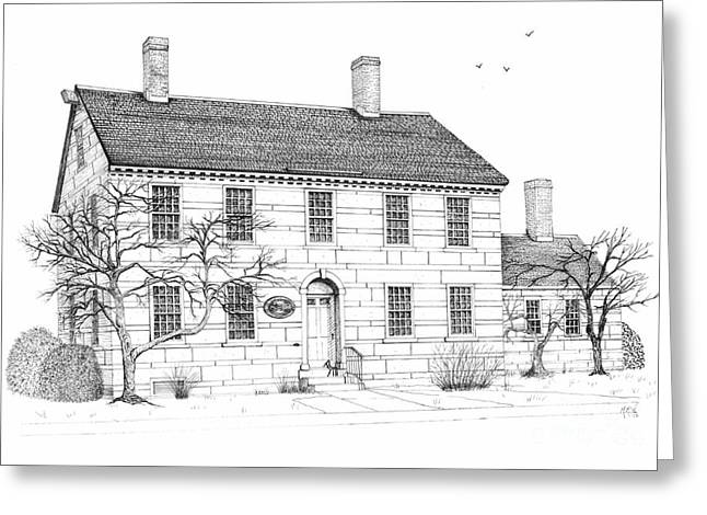 Stone House Drawings Greeting Cards - The Jillson House Greeting Card by Michelle Welles