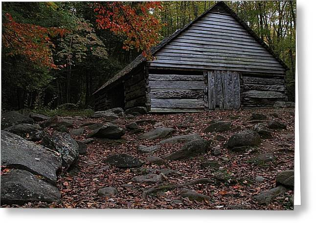 Roaring Falls Greeting Cards - The Jim Bales Place In Autumn Greeting Card by Dan Sproul
