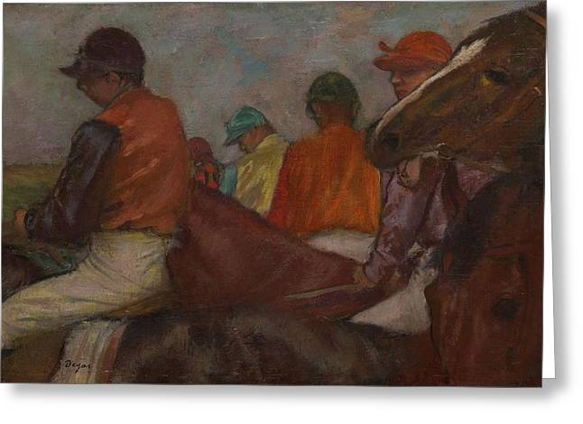 Jockeys Greeting Cards - The Jockeys, C.1882 Greeting Card by Edgar Degas