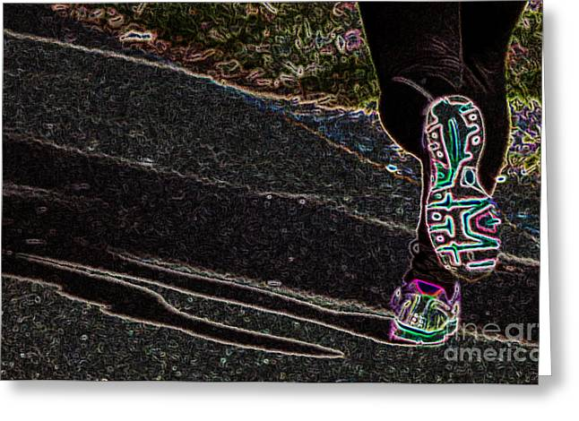 Runner Greeting Cards - The Jogger Greeting Card by Tom Gari Gallery-Three-Photography