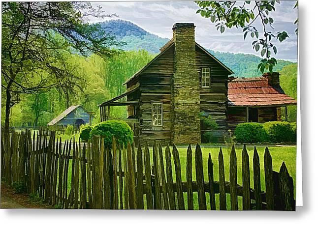 Log Cabins Greeting Cards - The John Davis Cabin Greeting Card by Priscilla Burgers