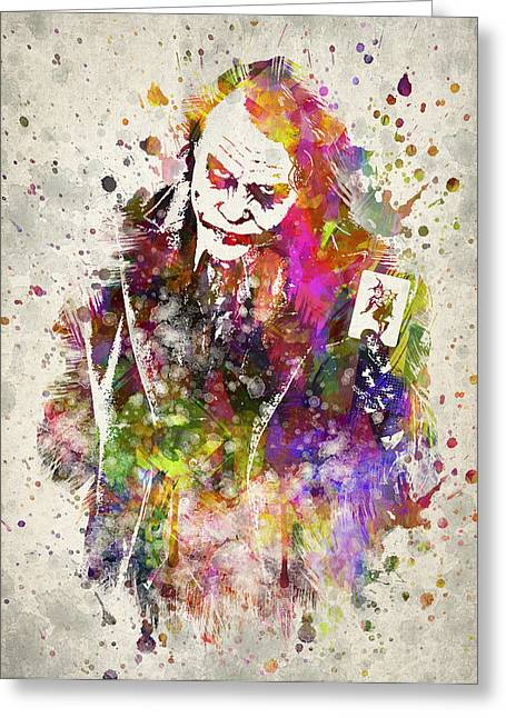 Heath Ledger Greeting Cards - The Joker Greeting Card by Aged Pixel