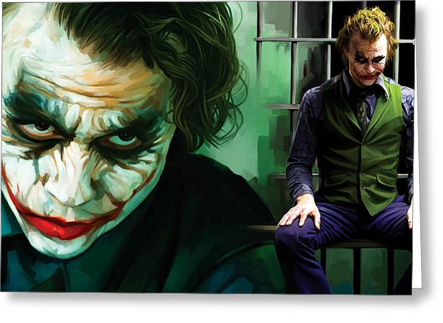 Heath Ledger Greeting Cards - The Joker Artwork Greeting Card by Sheraz A
