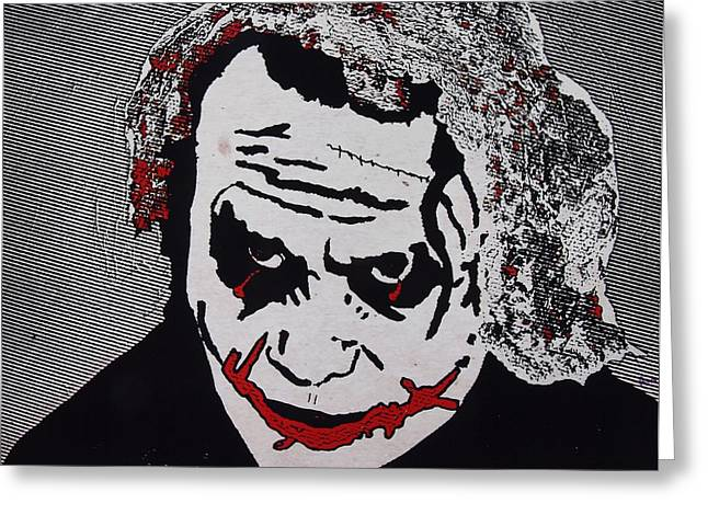 Ledger; Book Mixed Media Greeting Cards - The Joker before he became famous Greeting Card by Robert Margetts